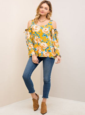 Musky Roses Cold Shoulder Top