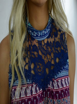 High Neck Lace Front Tunic