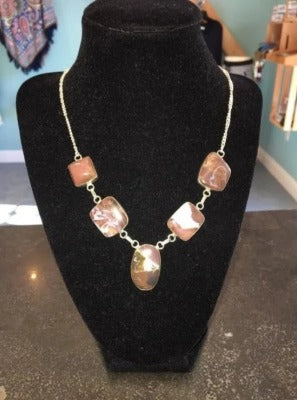 Brown and White Quary Stone Necklace