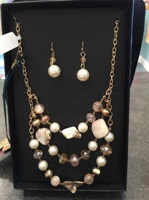 Pearl Earrings and Beaded Necklace Set