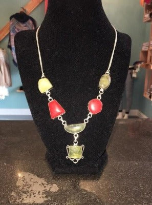 Light Green and Red Quary Stone Necklace