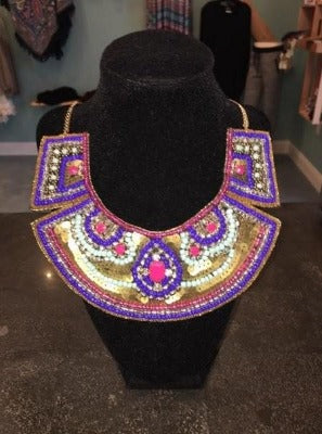 Multi Colored Gold Sequin Necklace