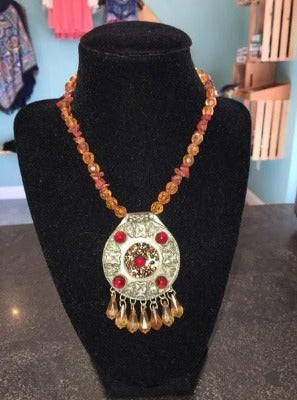 Orange Beaded Neck with Silver Plate