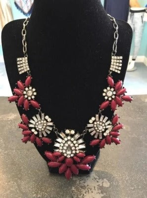 Black Chain Necklace with Maroon Stones