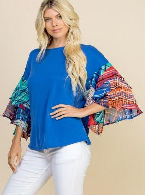 Love Your Back Blue Plaid Ruffle Sleeve Top
