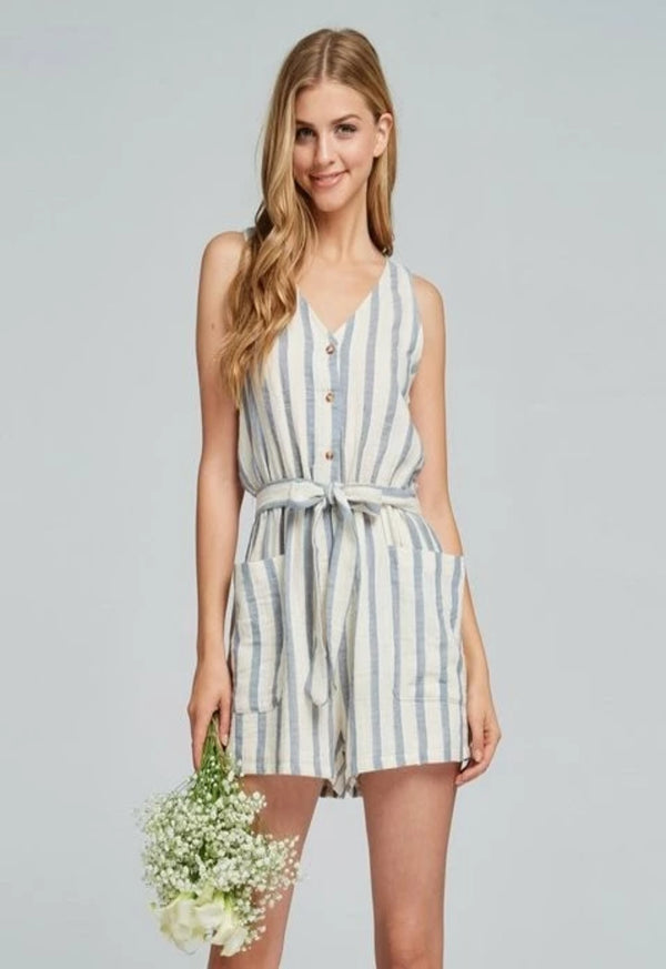 Lace Back Striped Romper