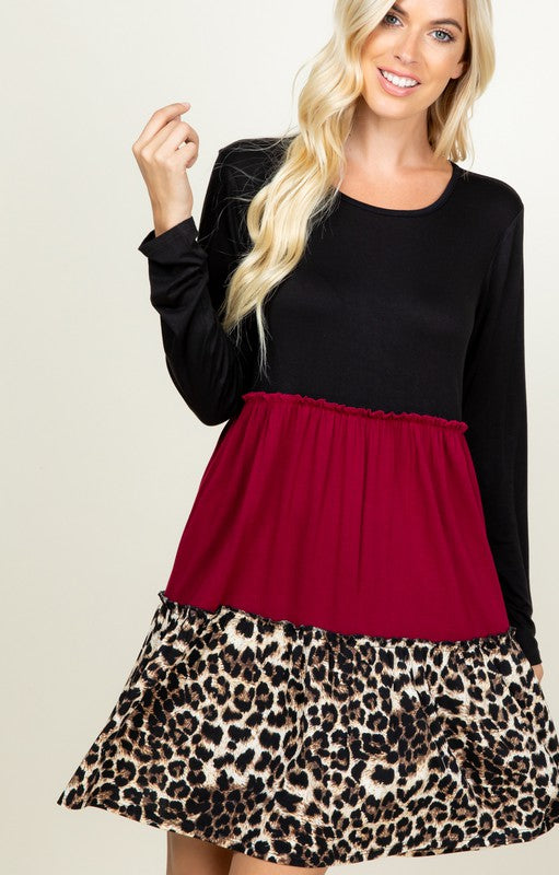 Long Sleeve tri print short dress