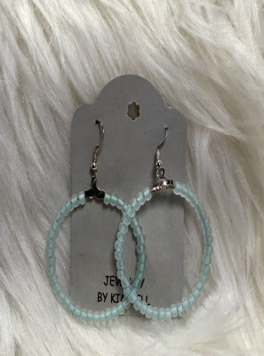 KB Hoop Earrings- Clear with Baby Blue