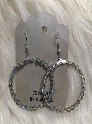 KB Hoop Earrings- Clear with Metallic overlay
