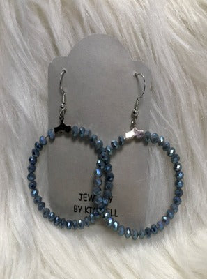 KB HOOP EARRINGS- BLUEISH GREY METALLIC