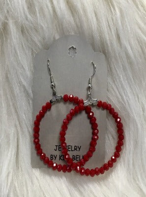 KB HOOP EARRINGS- RED