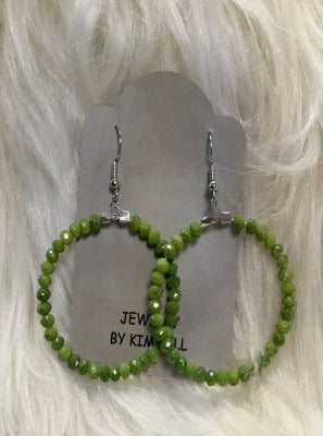 KB HOOP EARRINGS-LIME GREEN