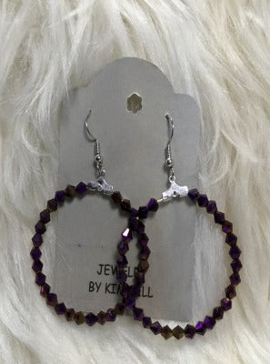 KB HOOP EARRINGS- PURPLE METALLIC