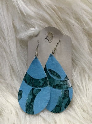 KB Teal Turquoise Leather Tear Drop Earrings