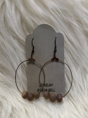 KB 3 BEAD HOOH EARRINGS-BROWN TONE