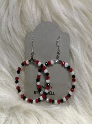 KB HOOP EARRINGS-RED, BLACK,WHITE