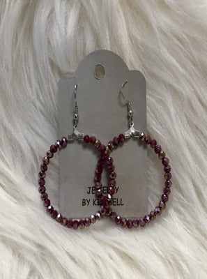 KB HOOP EARRINGS-LIGHT PURPLE METALLIC