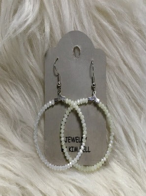 KB HOOP EARRINGS-SMALL BEAD WHITE