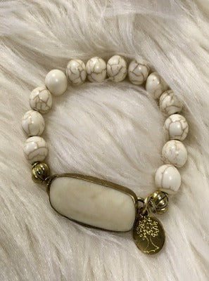 KB Howlite Bead Stretch Bracelet