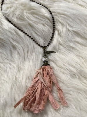 KB Long Tassel Ribbon Necklace Pink Bronze