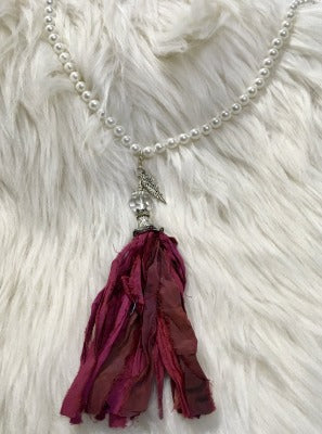 KB-Long Tassel Ribbon Necklace Red Pearl