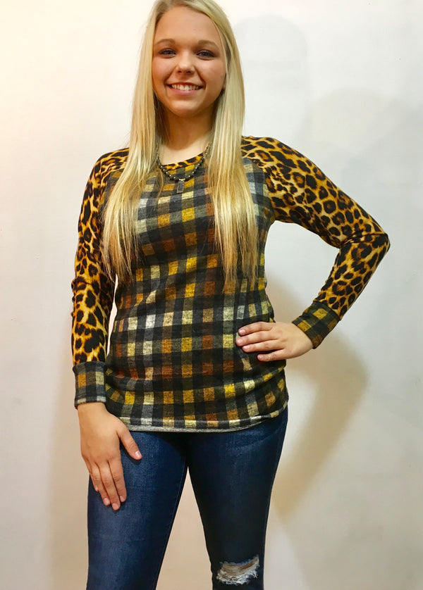 Leopardy Checkered Top