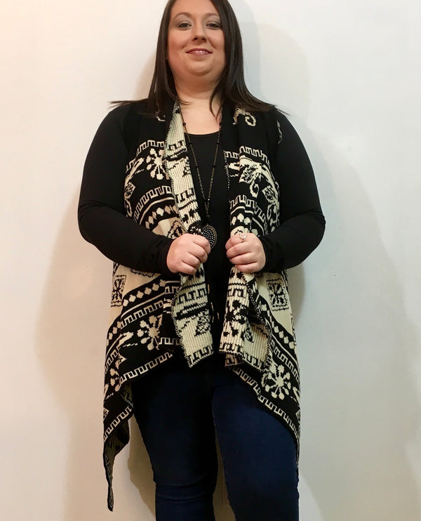 Tribal Aztec Cardigan/ Plus Size