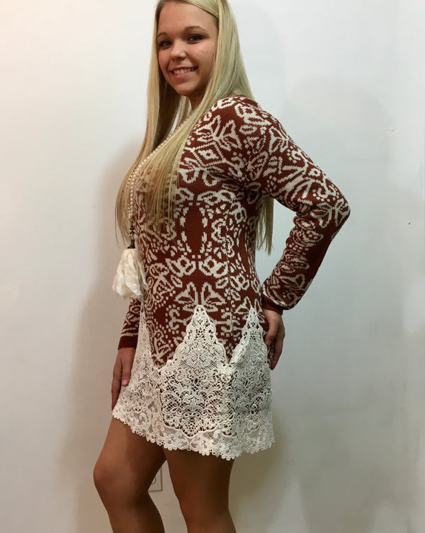 Latice Lace Sweater Dress