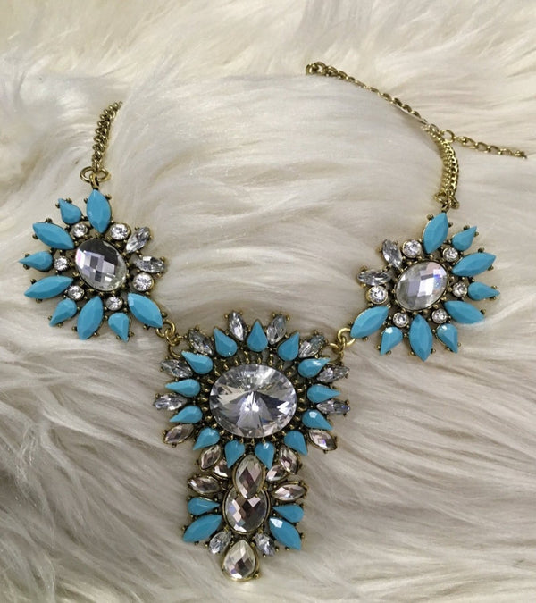 Sky Blue Stone Necklace With Gold-tone Chain