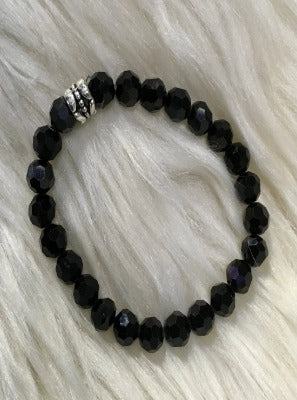 Black Crystal Beaded Bracelet With Charm