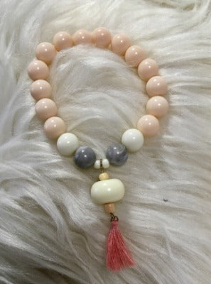 Peach and White Tassel Bracelet