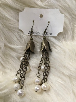 KB Mother of Pearl Chain Earrings