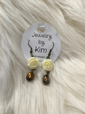 Antique Gold and Rose Earrings
