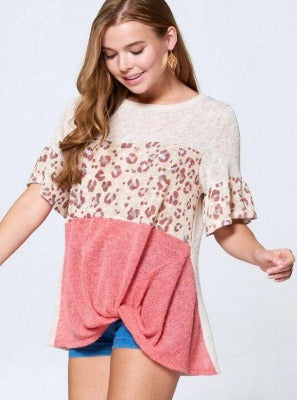 Cheetah Heart 3/4 Sleeve Top