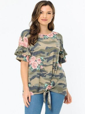 Flower Camo Ruffle Sleeve Top