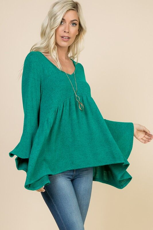 My Green Belle Bell Sleeve Top