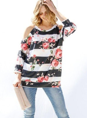 My Striped Rose Cold Shoulder Long Sleeves Top