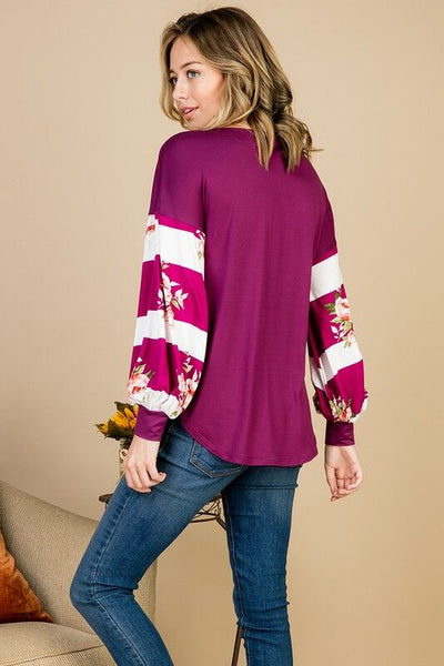 Stripe Me Purple Long Sleeve Top