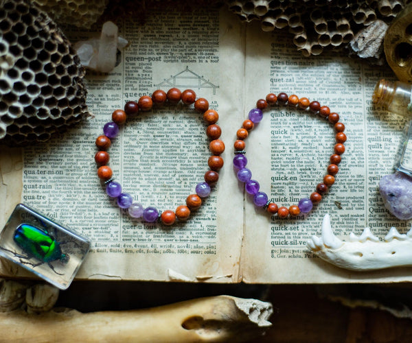 Pancreatic Cancer Awareness Bracelet (Amethyst & Wooden Prayer Beads)