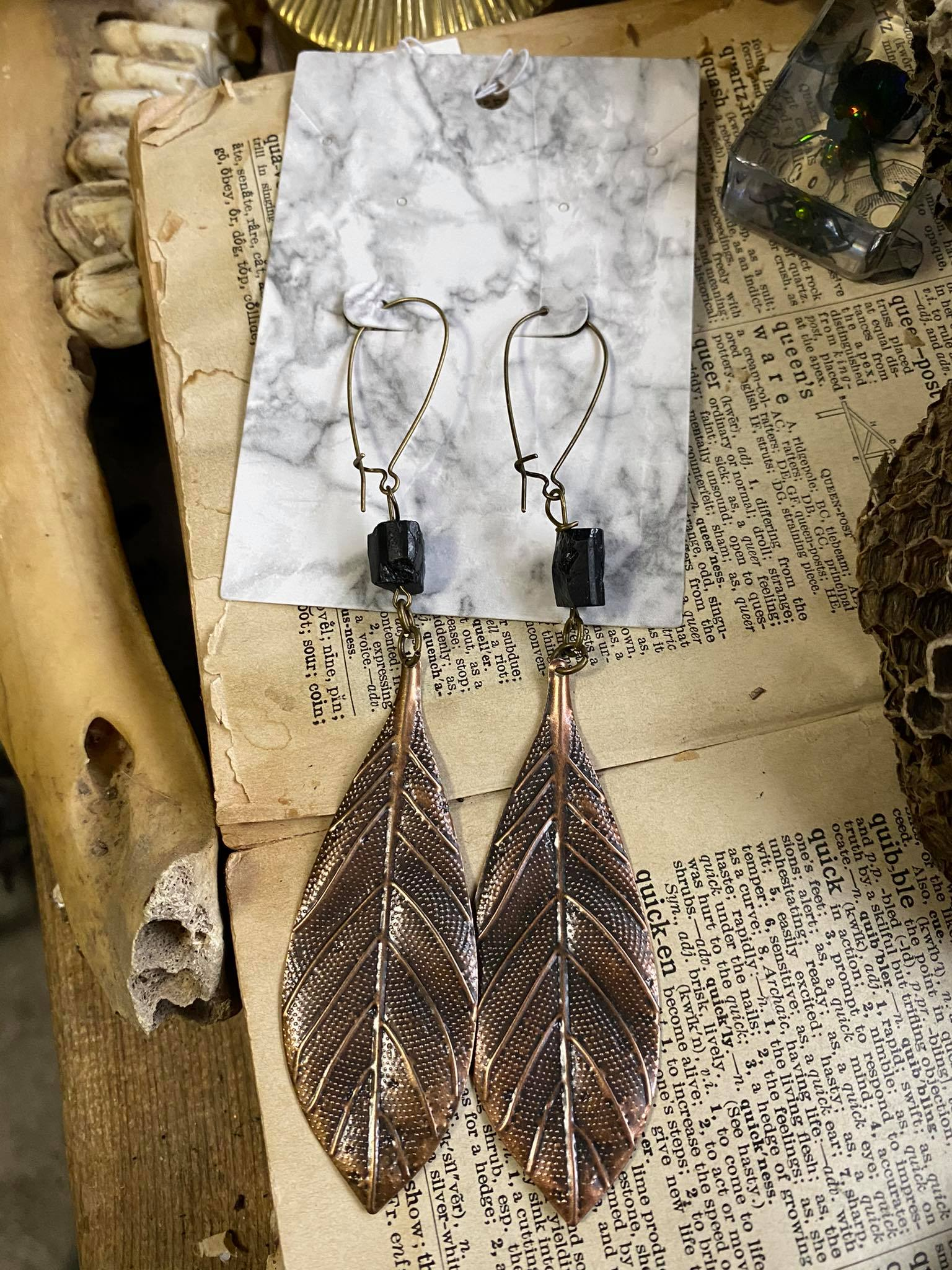 Black Tourmaline with Copper Leaf Earrings