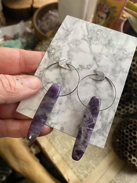 Rectangle Amethyst Crystal on Surgical Steel Hoop Earrings