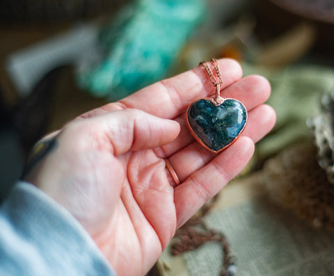 Hand Designed Electroformed Moss Agate Heart