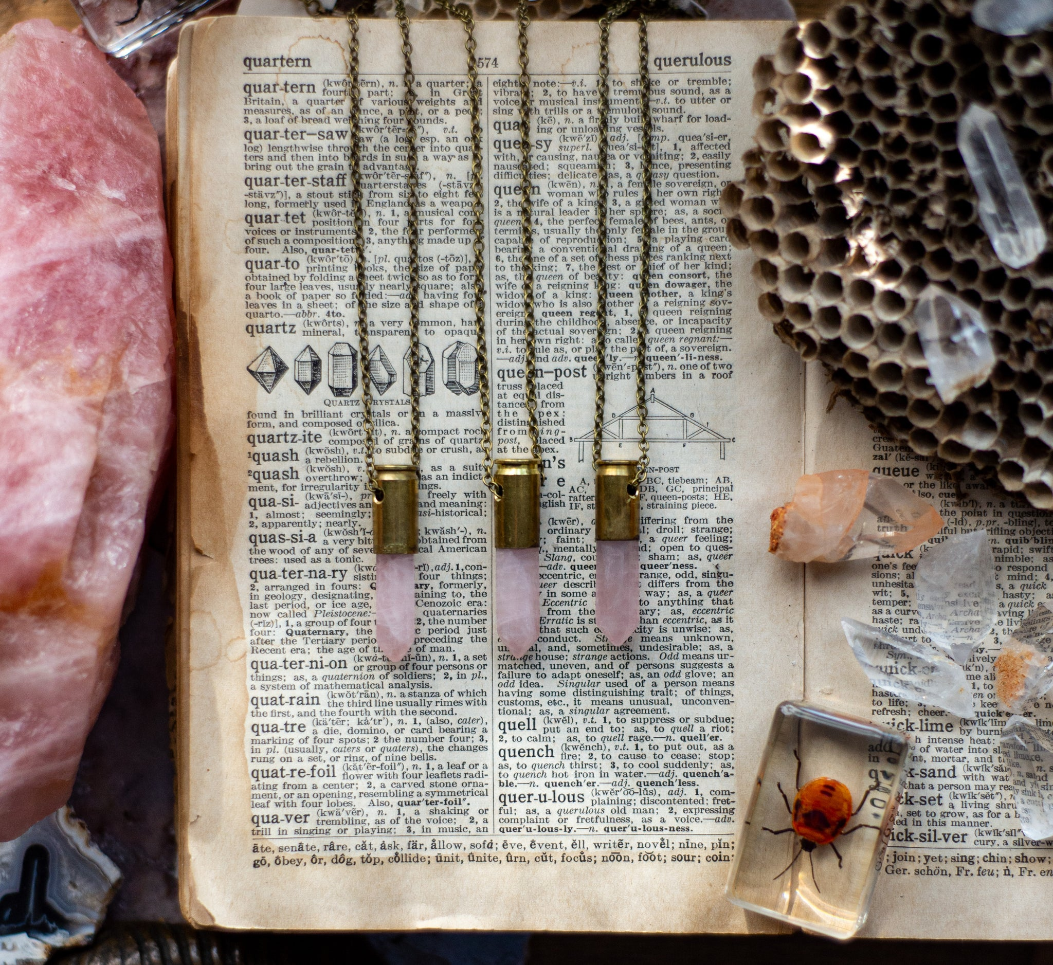 Hand designed Recycled Brass Casing Rose Quartz Crystal necklace
