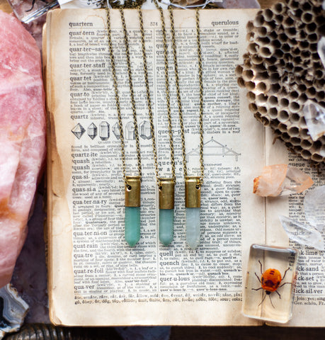 Hand designed Recycled Brass Casing Green Aventurine Quartz Crystal necklace