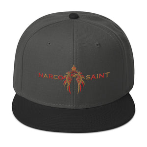 NARCO SAINT SNAPBACK HAT (RED/GOLD LOGO)