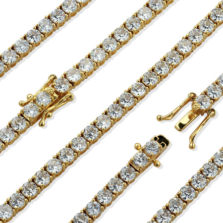 Premium 14KT Gold Electroplated Simulated Diamond Tennis Chain With Secure Box Lock. Highest Quality AAA CZ Stones