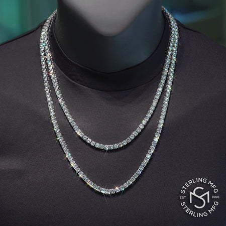 Premium Simulated Diamond Tennis Chain Made From Jewelers Alloy With Secure Box Lock. Available in Widths 3MM, 4MM, 5MM