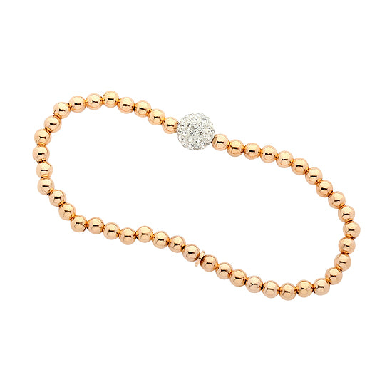 Stretchy Rose Gold Plated Sterling Silver .925 C.Z Bead Bracelet