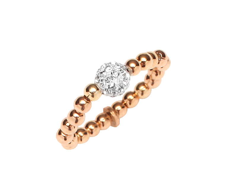 Stretchy Rose Gold Plated Sterling Silver .925 C.Z Bead Ring
