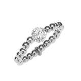 Stretchy Sterling Silver .925 C.Z Bead Ring